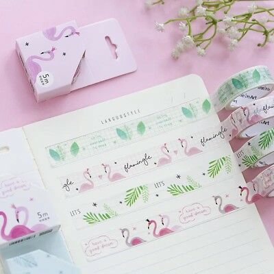 Flamingo Adhesive Washi Tape Kawaii DIY Decorative Masking Tapes Scrapbooking