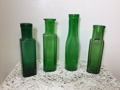 Antique Lot Of 4 Green Early Cork Top Food Condiment Bottles
