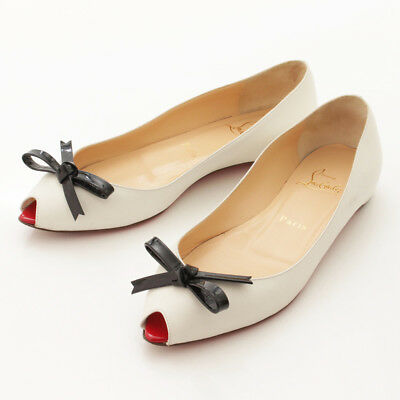 1bc2516bd98b Authentic Christian Louboutin Ribbon Leather Flat Pumps White Grade Ab Used  -At