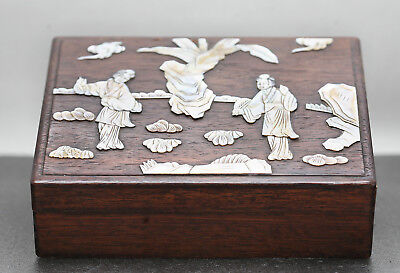 Very Fine  Antique Chinese Wooden Box W/ Mother Of Pearl Artwork Circa 1890s