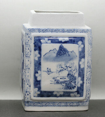 Excellent Vintage Chinese Hand Painted Blue & White Porcelain Tea Caddy