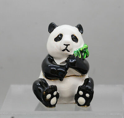 Delightful Hand Painted Panda Trinket Box Made Of Brass Lacquered
