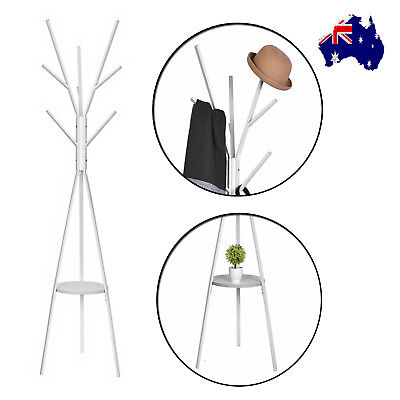 Coat Hanger Stand Rack Clothes Metal Hat Jacket Bag Umbrella Scarf Holder White