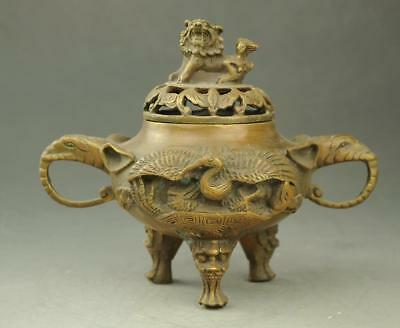 chinese old copper handwork carving Elephant Ear incense burner lion lid e01