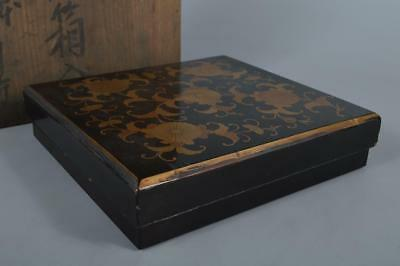 R6083: Japanese Wooden Lacquer ware INKSTONE CASE Box w/box Calligraphy tool.