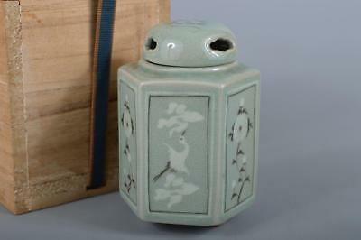 R5376: Korean Goryeo celadon Bird Flower inlay TEA CADDY Chaire Container w/box