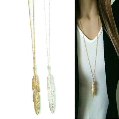 Women Feather Pendant Long Chain Necklace Sweaters Statement Vintage Jewel H&P