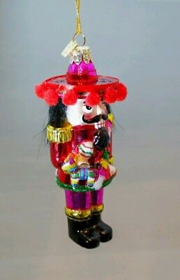 "Mexican Nutcracker Glass Ornament Pinata Sombrero 5 "" Christmas Kurt Adler"