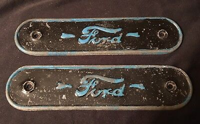 Set Of Two Antique Vintage Ford Motor Company Small Metal Plates Signs