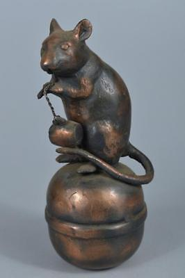 R6130: Japanese Iron Mouse bell STATUE sculpture Ornament Figurines Okimono