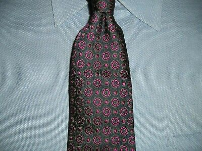 Gieves Woven Silk Tie Navy Burgundy Gold Design