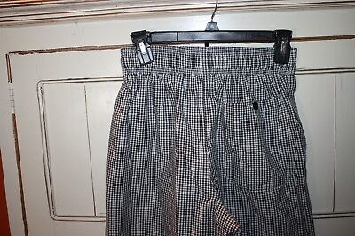 Chef Works Black & White Gingham Check Pants small pull on elastic culinary