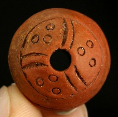 Ancient Pre Columbian Moche or Chimu Indian Spindle Whorl Bead 21mm