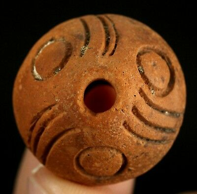 Ancient Pre Columbian Moche or Chimu Indian Spindle Whorl Bead 24mm