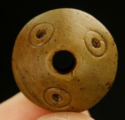 Ancient Pre Columbian Moche or Chimu Indian Steatite Stone Bicone Bead 15mm