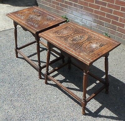 Nr pair Victorian antique Arts Crafts solid carved oak side console lamp tables