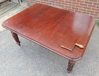 William IV antique solid Cuban mahogany extending reed leg dining table seats 8