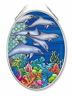 Amia 42568 Ocean Dolphins Medium Oval Suncatcher 7-Inch by 5.5-Inch Hand-Painted