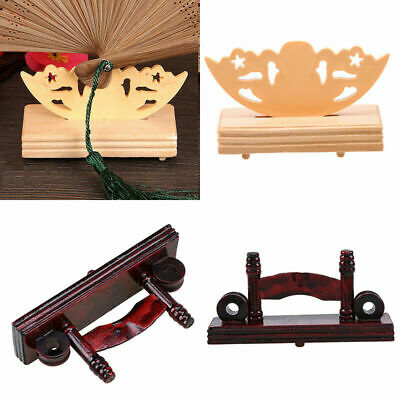 Wooden Hand Hold Folding Fan Stand Display Holder Store Home Office Table Decor