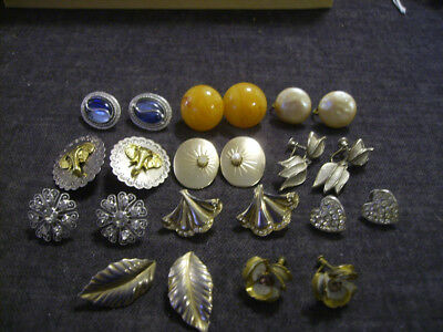 Lot of 11 pair vintage clip screw back earrings Vogue, Emmons, star ,sterling