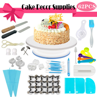 52PCS Cake Turntable Rotating Decorating Tool Baking Flower Icing Piping Nozzles
