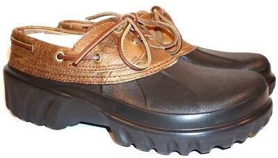 940286b66a5889 Men s Crocs Islander Closed Toe Shoes 10 M Brown Black Boat Shoes Lace Up  Tie