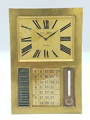 C.H. Charles Hour for Udall & Ballou Clock Rare , Large Heavy Brass,  Calendar