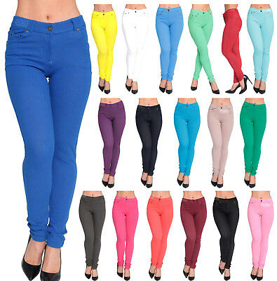 New Womens Skinny Jeans Stretchy Jeggings Ladies Fit Coloured Trousers 8-26