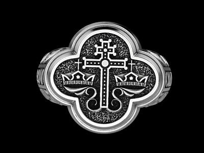 Certified Gothic Men's Orthodox Byzantine Cross Ring Oxidized  Sterling Silver