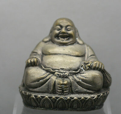 Nicely Made Antique Chinese Silver Happy Buddha Statue Circa 1920s