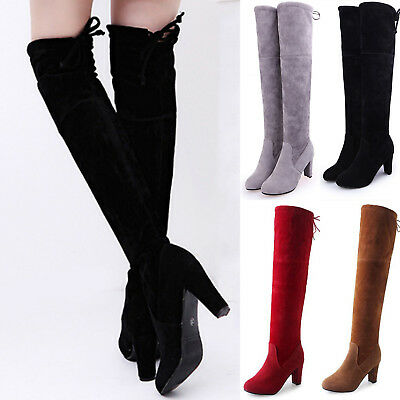 Women Thigh High Boots Over Knee Stretch Mid Block Heel Chunky Round Toe Shoes