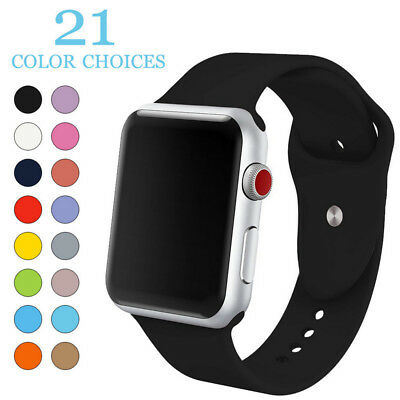 Soft Silicone Replacement Sport Band for Apple Watch Series 38mm 42mm 40mm 44mm