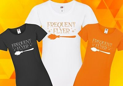 60404c36b Frequent Flyer T-Shirt - Halloween Witch Broom Horror Funny Spooky Hocus  Pocus