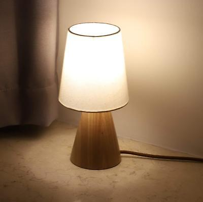 PINSOON Table Lamp, Bedside Table Lamp with Fabric Shade and Wood Base