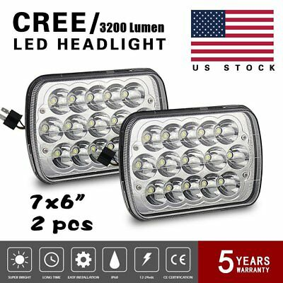 1 Pair 7x6 LED Headlights HID Light Bulbs Crystal Clear Sealed Beam Headlamp SS