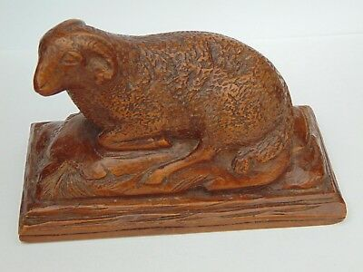 Antique Hand Carved Swiss Black Forest Wood Treen Ram Sheep