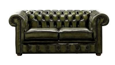 Chesterfield Handmade 2 Seater Antique Olive Green Leather Sofa Settee