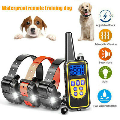 Large 880 Yard Pet Dog Training Bark Electric Shock Collar w/ Remote Waterproof
