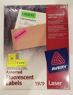 avery 5979 neon assorted high visibility labels 1 x 2 5 8 450