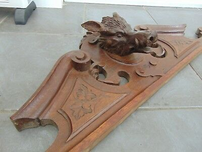 Antique French Black Forest Style Solid Wood Hand Carved Boars Head Pediment