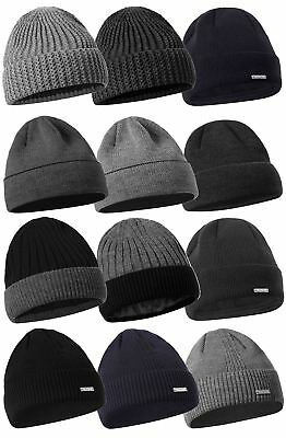Mens Boys Ladies Unisex Wooly Knitted Beanie Ski Hat Warm Winter Turn Up  Chunky 52b8090a9c44