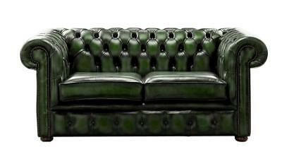Chesterfield Handmade 2 Seater Antique Green Leather Sofa Settee