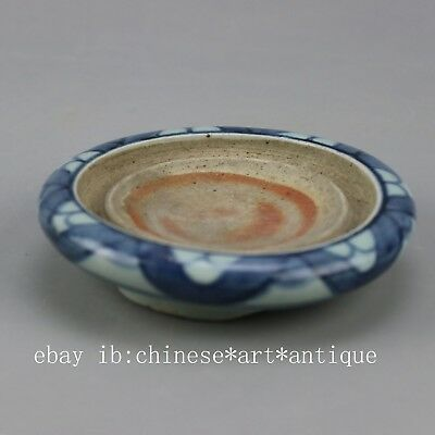 China old antique hand-carved porcelain Blue & white three foot inkstone