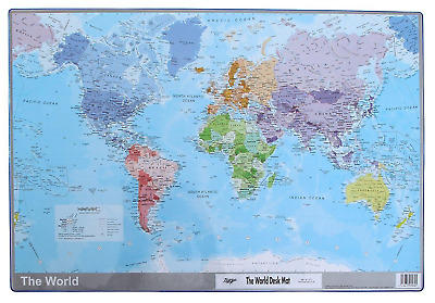 World Map Atlas Desk Mat 590 x 400mm Durable Writing Pad Mouse Computer