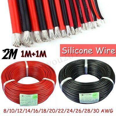 8AWG-30AWG Flexible Silicone Wire Cable Insulation Tinned Copper 2m Black & Red