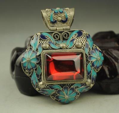 China old  handwork tibet-silver inlay  jade Cloisonne blue Flower Pendant  b01