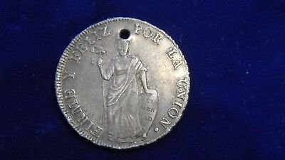 Peru 1834 8 Reales  .903 Silver Coin Holed