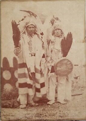 Antique Cabinet Card Native American Photo Indian Chief Eagle Calf Standiford