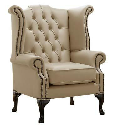 Chesterfield Armchair Queen Anne High Back Wing Chair Basket Leather