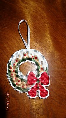 Wreath Ornament red bow New Finished Cross Stitch Handmade Red White Christmas
